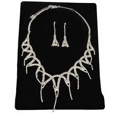 rhinestone necklace set images Stylish rhinestone necklace trilateral drop earrings bridal jpg