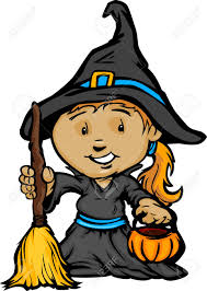 cartoon image of a happy halloween witch with trick or treat