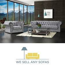 Chesterfield 3 Seater Sofa by We Sell Any Sofas Crushed Velvet Leather Fabric U0026 Corner