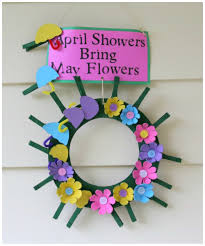 recycled craft april showers bring may flowers clothespin wreath