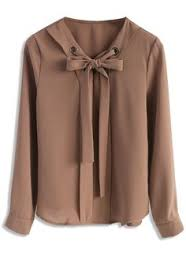 brown blouse chiffon blouse with pleat front details ช ดเดรส 1