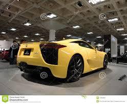 yellow lexus lfa lexus lfa speedy car on display at auto show editorial photography