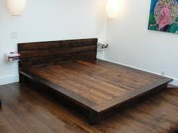 Wood Bed Frame With Shelves Low Profile Dark Brown Wooden Bed Frame With Head Board Between