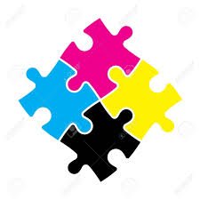 cymk puzzle four jigsaw puzzle pieces in cmyk colors printer theme vector