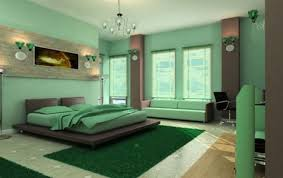 stylish green combination color bedroom with green round