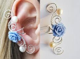earrings cuffs blue roses blue earrings flower earrings ear cuffs roses