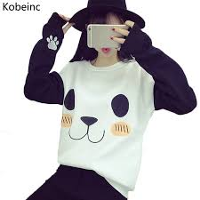 new college wind women hoodies fashion cartoon panda sweatshirts