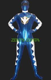 power rangers dino thunder blue and white zentai suits