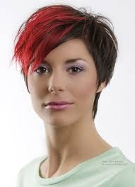 johnbeerens hairstyler funky and steeply tapered short hairstyle with a red shock lock in