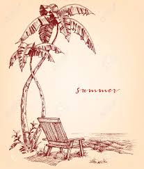 summer sketch palm trees and sunbed on the beach royalty free