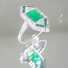 art deco emerald fancy cut diamond platinum cluster ring for sale