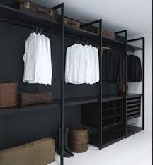 modern dressing room with wardrobe closet black wood designs