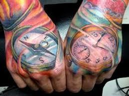 clock tattoo on hand 45 great compass tattoos on hand