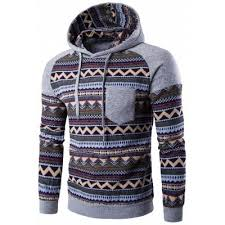 light gray color block tribal printed pocket hooded raglan sleeve