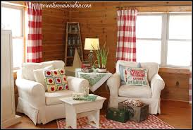Red Curtains Living Room Living Room With White Slipcovered Furniture Creative Cain Cabin
