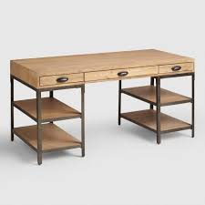 wood and metal writing desk home office furniture desks chairs world market