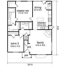 1 Floor Home Plans 30x38 1 Floor Traditional Style House Plan 2 Beds 2 Baths 1044