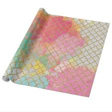 quatrefoil wrapping paper abstract watercolor swatches and gold quatrefoil wrapping paper