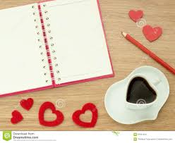 heart shaped writing paper love diary valentines day background with heart shape of cup with background