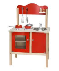küche arbeitshöhe combi küche spielküche kinderküche rot mit zubehör aus holz