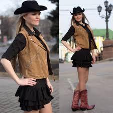 viky cowboy boots black dress with frill cowboy hat