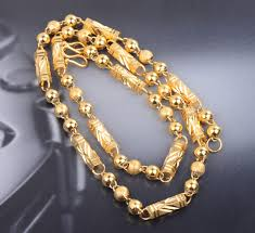 gold filled chain necklace images Long fashion men jewelry gold filled beads link chain necklaces jpg