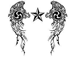 Nautical Star Tattoo Ideas Awesome Nautical Stars U0026 Wings Tribal Tattoo Design By