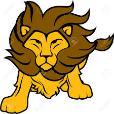 illustration of lion front view isolated on white background