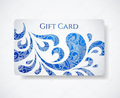 Design Gift Cards For Business White Gift Card Discount Card With Floral Blue Pattern Scroll