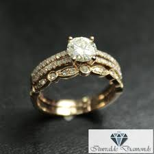 deco wedding band cut moissanite split shank diamond pave engagement ring