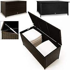 Patio Cushion Storage Bin by Waterproof Rattan Garden Storage Box Outdoor Cushion Deck Chest
