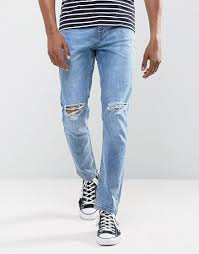 light stone washed mens jeans lyst antioch stretch ripped skinny jeans in light blue stone wash