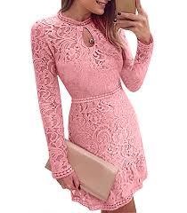 lace mini dress pink ruffled skirt keyhole neckline