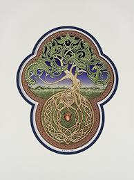 amazon com celtic tree of digital print tree green