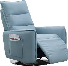 casa fairfax modern blue fabric recliner chair