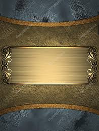 Gold Nameplate Design Template Blue Background With Gold Nameplate U2014 Stock