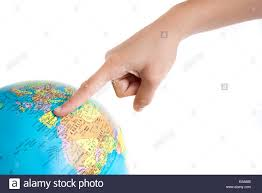 Spain On A Map Finger Pointing Spain On The Global Map Stock Photo Royalty Free