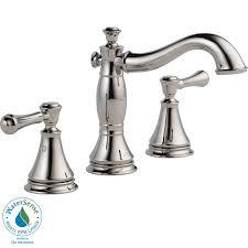 shop delta cassidy polished nickel 2 handle widespread watersense