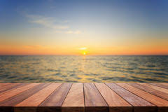 Sunrise Sunset Table Empty Top View Of Wooden Table And View Of Sunset Or Sunrise On