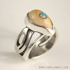 ivory ring elk ivory turquoise accent leaf ring jewelry