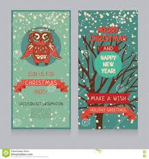 cute owl on banner for christmas party in retro palette stock