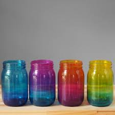 bohemian home decor set of four ombre tinted mason jars hand