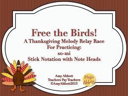 Thanksgiving Relay Turkey Lurkey Rhythm Blitz Free The Birds Melody