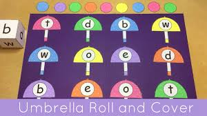 umbrella roll and cover file folder game for preschool and