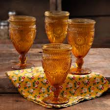 the pioneer woman 12 ounce amber adeline glass goblet set 4 pack