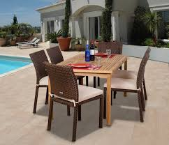 Wicker Dining Room Furniture 7 Pc Luxemburg Teak Wicker Dining Set Patio Productions