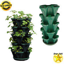 strawberry planter pot 5 tier plant tower stackable herb flower