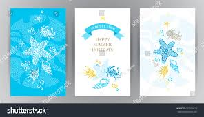 bright summer holidays cards sea elements stock vector 617692628