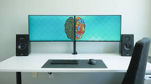 ultimate dual monitor desk setup youtube