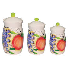 kitchen canisters and jars fruit design 3 piece canister set